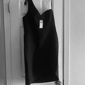 BCBG black one shoulder dress